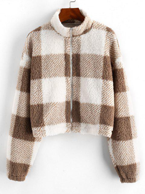 affordable ZAFUL Full Zip Plaid Teddy Coat - BROWN BEAR XL Mobile