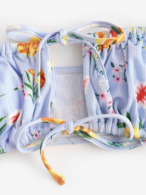 best ZAFUL Ribbed Flower Cutout Off Shoulder Bikini Swimwear - LIGHT BLUE M Mobile