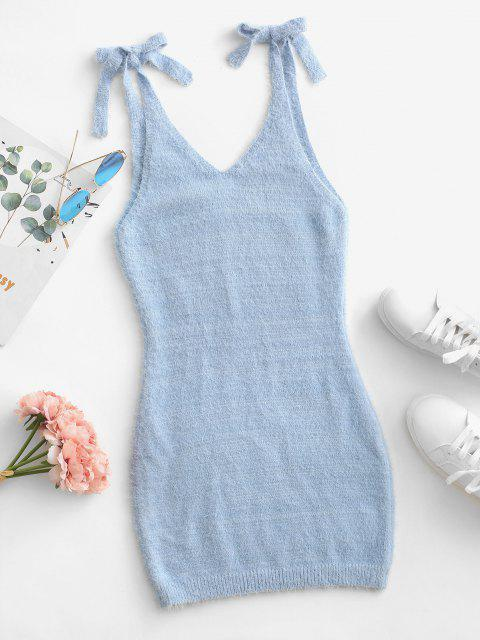 affordable Tie Shoulder Sleeveless Plunging Bodycon Sweater Dress - LIGHT BLUE L Mobile