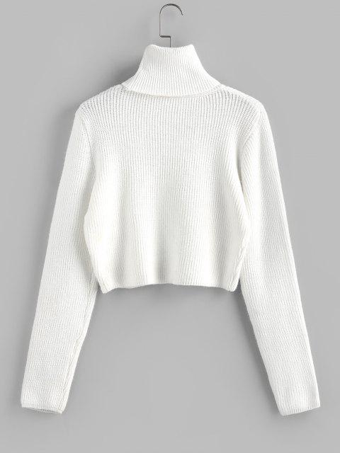 buy ZAFUL Turtleneck Plain Crop Sweater - WHITE S Mobile