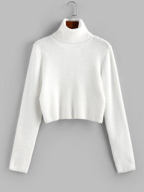 womens ZAFUL Turtleneck Plain Crop Sweater - WHITE M Mobile