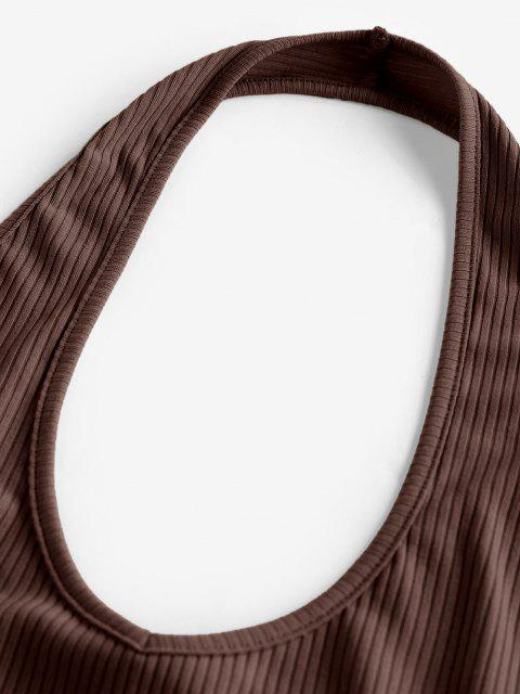 outfit ZAFUL Ribbed Halter Crop Top - DEEP BROWN L Mobile