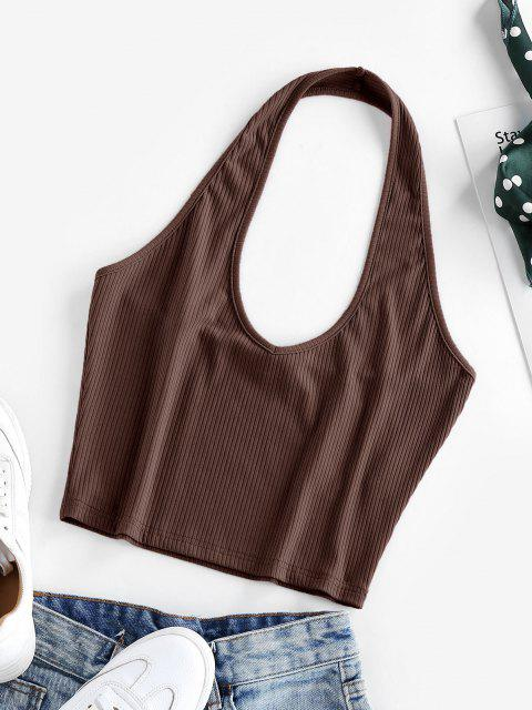 latest ZAFUL Ribbed Halter Crop Top - DEEP BROWN XL Mobile