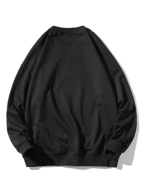 outfit Letter Fan Print Crew Neck Sweatshirt - BLACK M Mobile