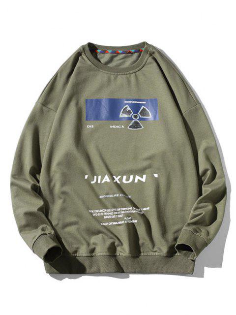 Sweat-shirt Eventail et Lettre Imprimés à Col Rond - Vert clair M Mobile