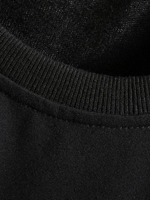 Sweat-shirt Eventail et Lettre Imprimés à Col Rond - Noir 3XL Mobile