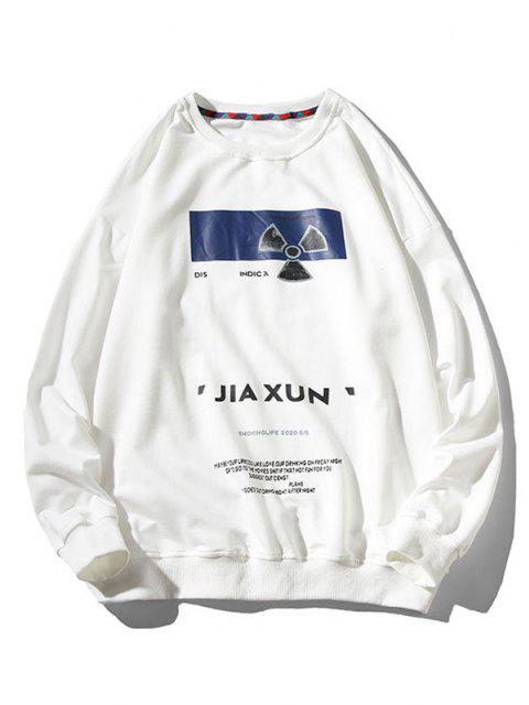 hot Letter Fan Print Crew Neck Sweatshirt - WHITE M Mobile