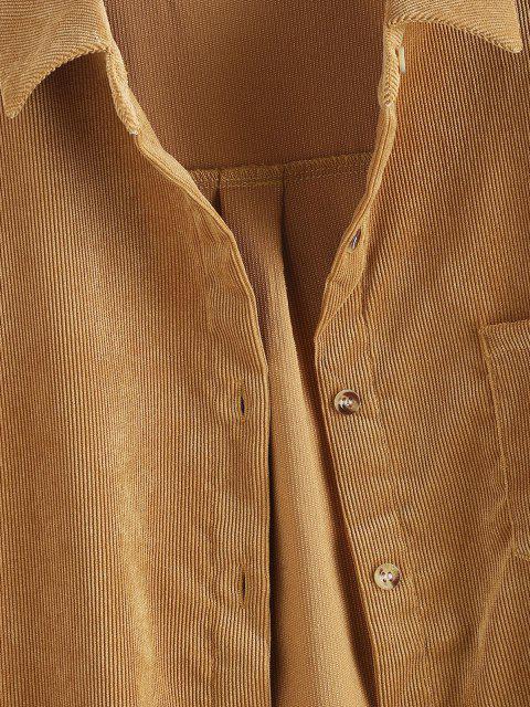Veste Chemise en Velours Côtelé avec Poche - Jaune S Mobile