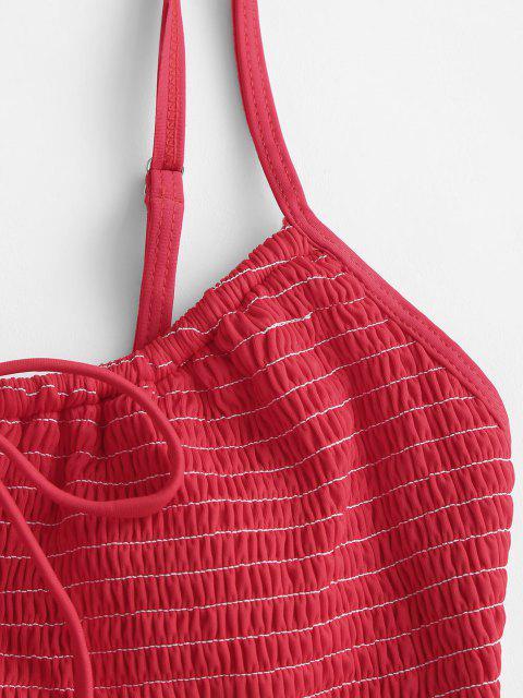 outfits ZAFUL Tie Keyhole Smocked Bikini Top - RED M Mobile