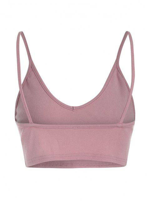 sale ZAFUL Ribbed Cropped Backless Cami Bralette Top - LILAC S Mobile