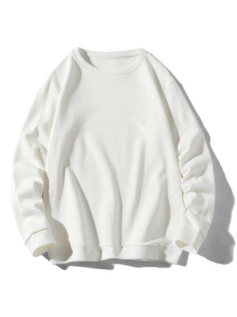 chic Rib-knit Trim Basic Sweatshirt - WHITE XS Mobile