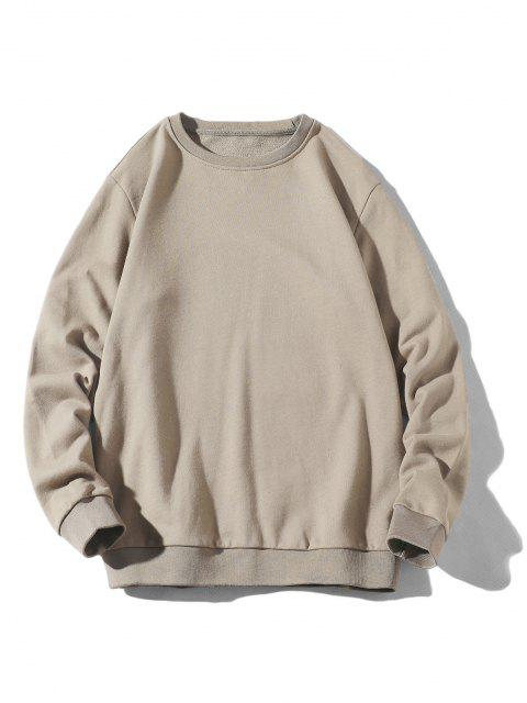fancy Rib-knit Trim Basic Sweatshirt - APRICOT L Mobile