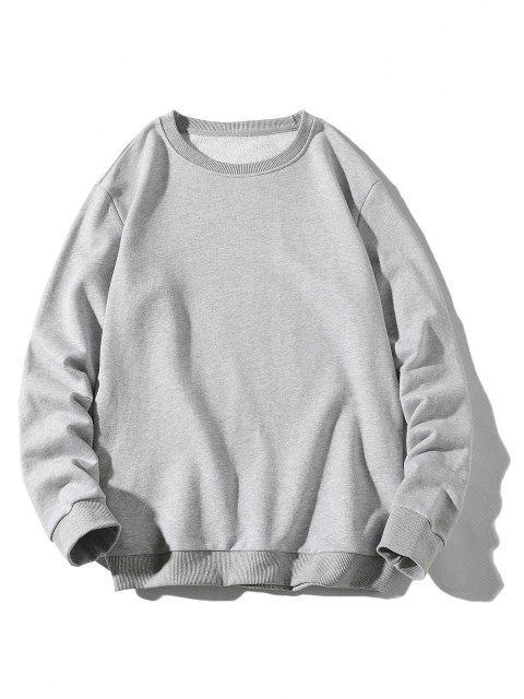 sale Rib-knit Trim Basic Sweatshirt - LIGHT GRAY XS Mobile