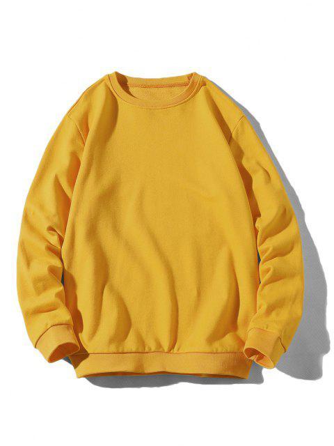 unique Rib-knit Trim Basic Sweatshirt - YELLOW XS Mobile