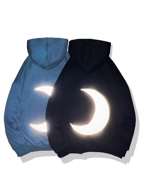 Sweat à CapucheFluorescence Lune Imprimé en Laine - Bleu Myrtille 4XL Mobile