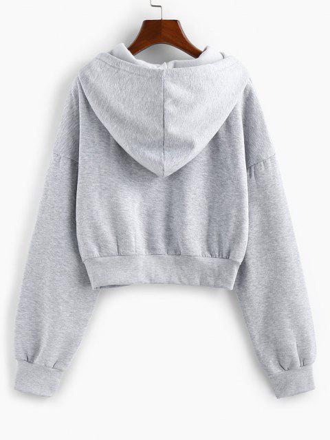 outfit ZAFUL Drop Shoulder Flocking Pocket Drawstring Hoodie - LIGHT GRAY L Mobile