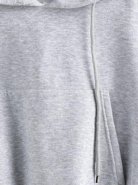 affordable ZAFUL Drop Shoulder Flocking Pocket Drawstring Hoodie - LIGHT GRAY XL Mobile
