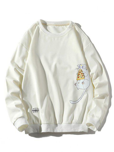 outfit Mouse Eating Pizza Print Crew Neck Sweatshirt - WHITE XS Mobile