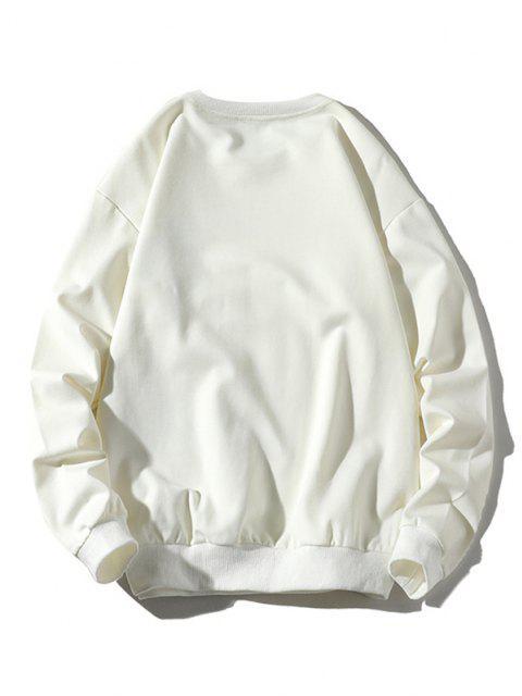 women Mouse Eating Pizza Print Crew Neck Sweatshirt - WHITE XL Mobile