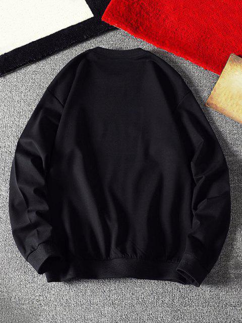 lady Mouse Eating Pizza Print Crew Neck Sweatshirt - BLACK M Mobile