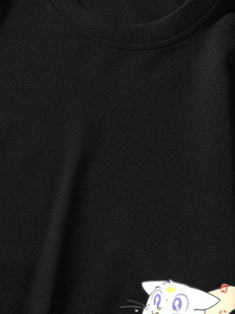 Sweat-shirtSourisenMangeantlePizzaImprimé à Col Rond - Noir S Mobile