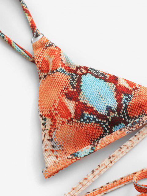 outfits ZAFUL Ribbed Leopard Snakeskin Tanga Wrap Bikini Swimwear - ORANGE L Mobile