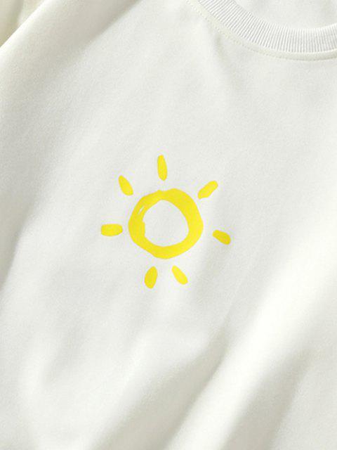 Moletom Casual de Manga Comprida de Gola Sol - Branco S Mobile