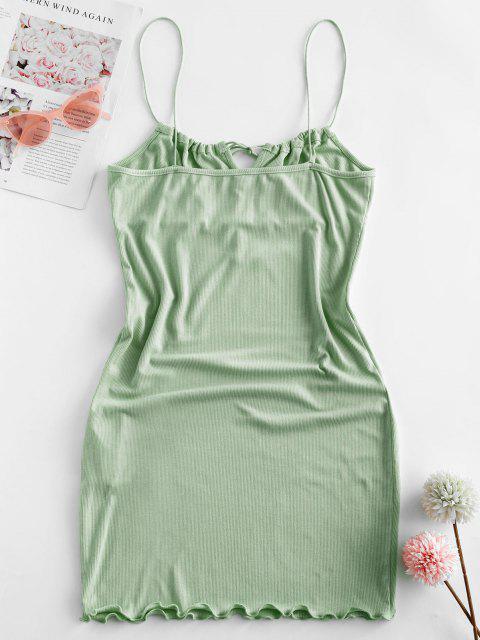 new ZAFUL Ribbed Lettuce Tie Cami Mini Dress - SEA GREEN XL Mobile