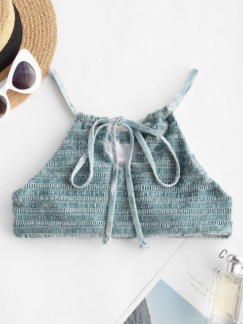 ZAFUL Multiway Smocked Velvet Keyhole Swim Top - أزرق فاتح S Mobile
