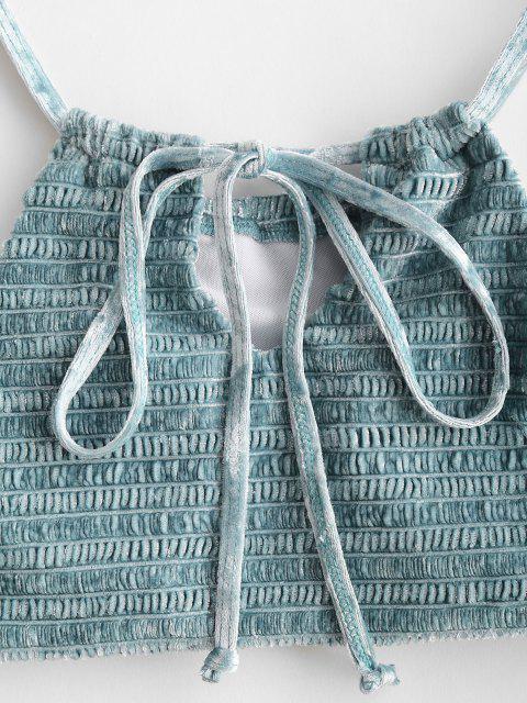 ZAFUL Haut de Maillot de Bain Plissé en Velours avec Trou de Serrure - Bleu clair S Mobile