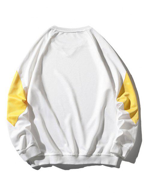 shop Colorblock Panel Raglan Sleeve Sweatshirt - WHITE XS Mobile