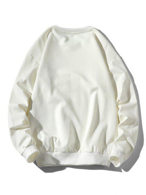 women's Playing Cat Print Crew Neck Casual Sweatshirt - WHITE XL Mobile