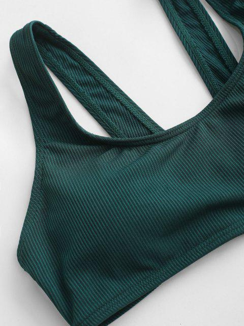 buy ZAFUL Ribbed Trikini Swimsuit - DEEP GREEN S Mobile