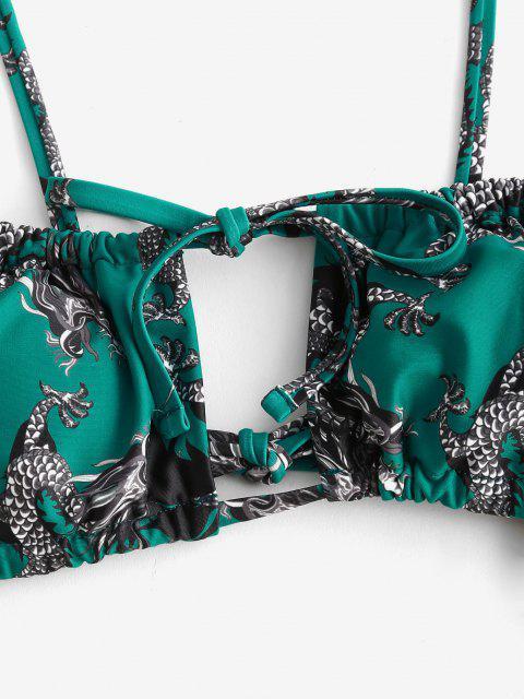 ZAFUL Bikini Recortado de Cadena con Estampado de Dragón - Verde S Mobile
