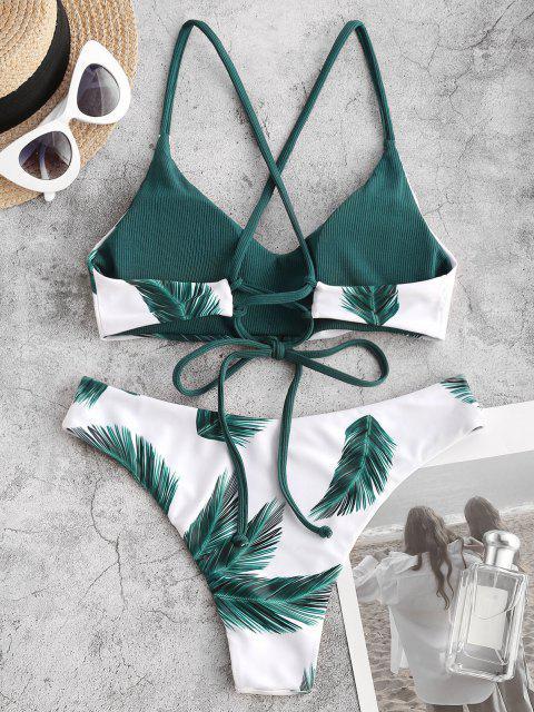 ZAFUL Costume da Bagno Bikini a Costine con Stampa Foglie Tropicali - Verde intenso S Mobile