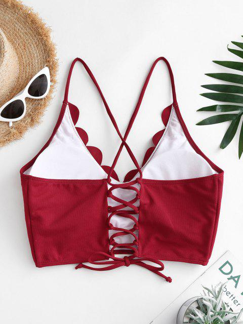 shop ZAFUL Plus Size Textured Scalloped Lace-up Bikini Top - DEEP RED XL Mobile
