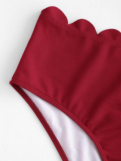ZAFUL Bas de Bikini Texturé Festonné de Grande Taille - Rouge foncé XXXL Mobile