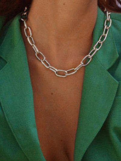 Chunky Chain Collarbone Necklace - Silver