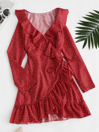 ZAFUL Ruffle Polka Dot Wrap Dress - Red S