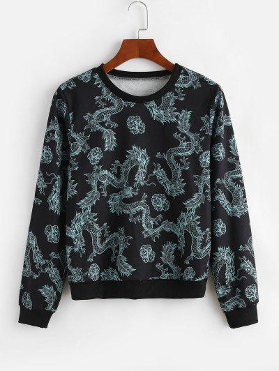 Dragon Print Chinoiserie Sweatshirt - Black M