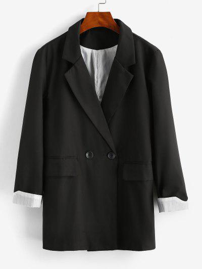 Striped Cuff Pocket Long Blazer - Black L