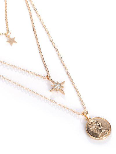 18K Gold Plated Star Portrait Layered Necklace - Golden