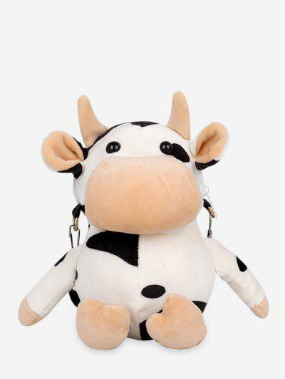 Cute Plush Cow Mini Crossbody Bag - White