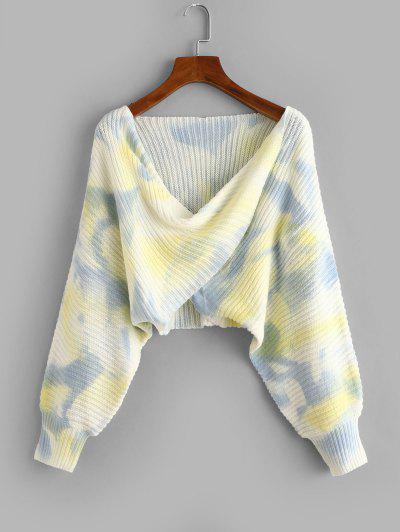 Tie Dye Twist Draped Short Sweater - Light Blue