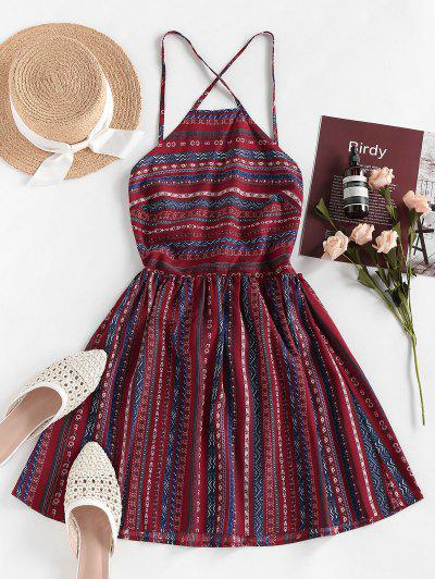 ZAFUL Bohemian Printed Lace-up Backless Sundress - Red Wine M
