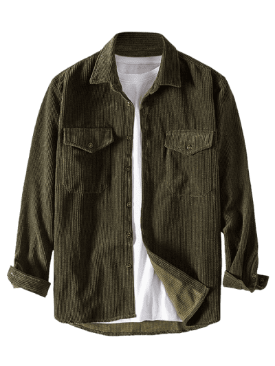 Pure Color Front Pockets Corduroy Casual Shirt