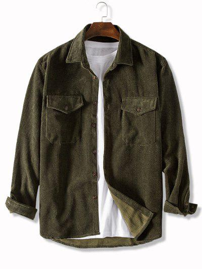 Pure Color Front Pockets Corduroy Casual Shirt - Army Green 2xl