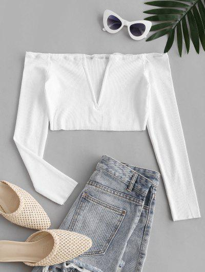 V Wired Exposed Shoulder Beach Crop Top - White L