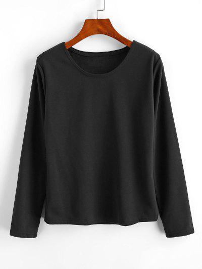 Fleece Lining Heather Pullover Sweatshirt - Black S