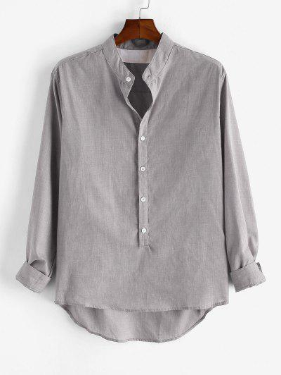 Solid Long Sleeve Button Down Shirt - Light Gray L